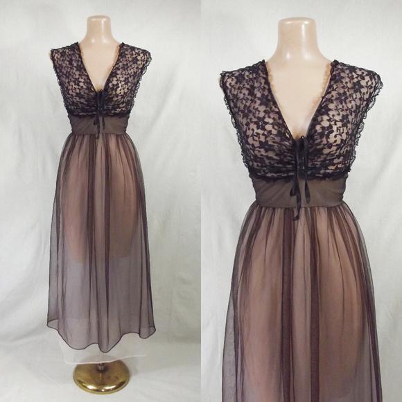 cdd66ebff VINTAGE 50s Black   Pink Sheer Nylon Nightgown 38.  M 5b3cef05619745d2b075262d